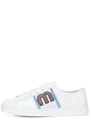 20MM BEADED LOGO LEATHER SNEAKERS