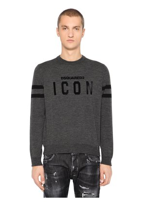 ICON FLOCKED WOOL KNIT SWEATER