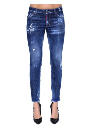 SKINNY MID RISE DESTROYED DENIM JEANS