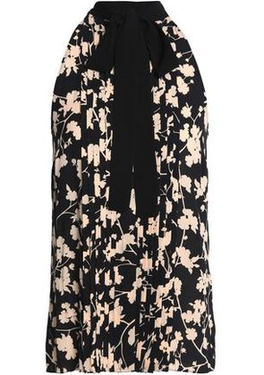 Michael Kors Collection Woman Pussy-bow Pintucked Floral-print Silk Blouse Black Size 6