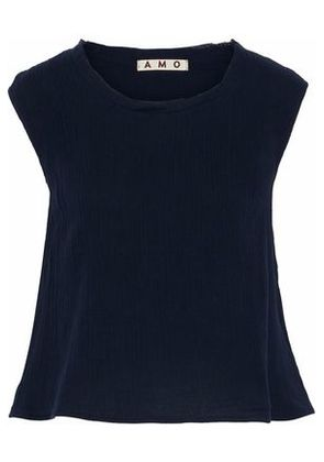 Amo Woman Ruffled Crinkled-cotton Top Navy Size XS