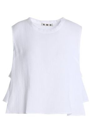 Amo Woman Ruffled Crinkled-cotton Top White Size XS