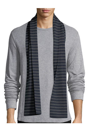 Striped Ribbed Wool Scarf