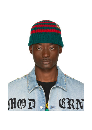 Gucci Red & Green Striped Wool Beanie