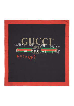 Gucci Black & Red Silk 'Future' Logo Scarf