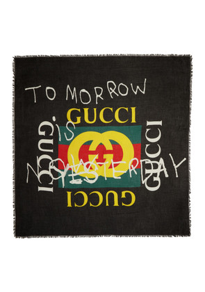 Gucci Black 'Tomorrow' Logo Shawl