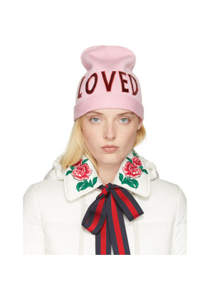 Gucci Pink Wool 'Loved' Beanie
