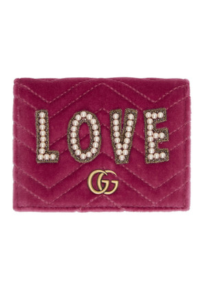 Gucci Pink Velvet Small 'Love' GG Marmont Wallet