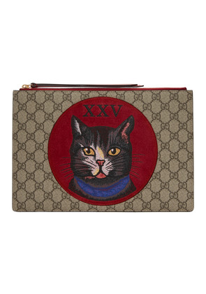 Gucci Brown GG Supreme Oblo Cat Pouch