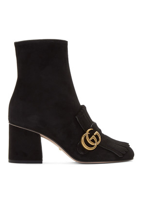 Gucci Black Suede GG Marmont Boots