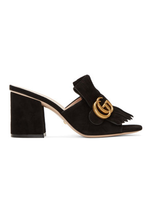 Gucci Black Suede GG Marmont Fringed Mules