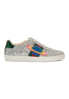Gucci Silver Glitter Planet New Ace Sneakers