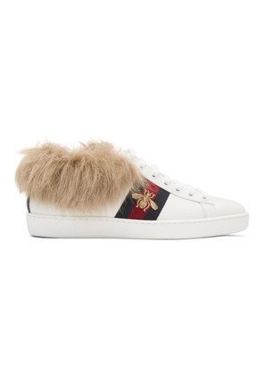 Gucci White New Ace Wool-Lined Sneakers