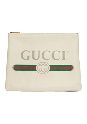 Gucci White Medium 'Fake Gucci' Pouch