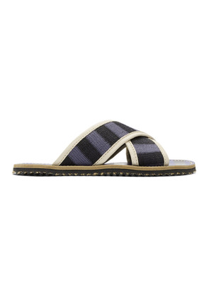 Marni Blue & Black Striped Nastro Sandals
