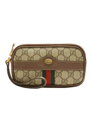 Gucci Brown GG Supreme Ophidia iPhone Pouch