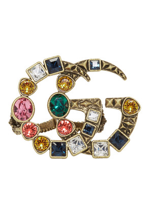 Gucci Gold & Multicolor Crystal GG Multi-Finger Ring