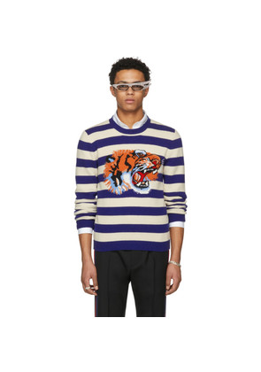 Gucci Blue & Beige Striped 'Loved' Tiger Sweater