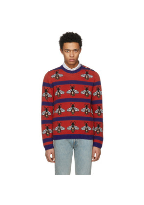 Gucci Red & Navy Striped Bee Sweater