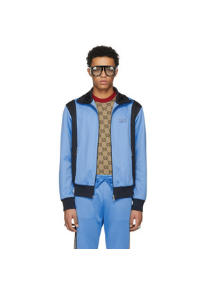 Gucci Blue & Black Tiger Patch Zip-Up Jacket