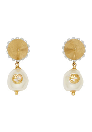 Gucci Gold GG Pearl Earrings
