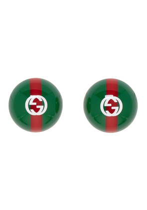 Gucci Green & Red Web Earrings