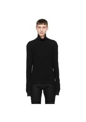 Helmut Lang Black Waffle Knit Thermal Turtleneck