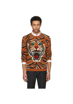 Gucci Orange 'Guccy' Tiger Intarsia Sweater