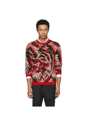Gucci Red 'Guccy' Wolf Intarsia Sweater