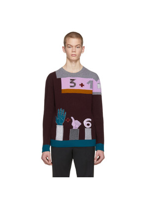 Valentino Burgundy Colorblock Counting Sweater
