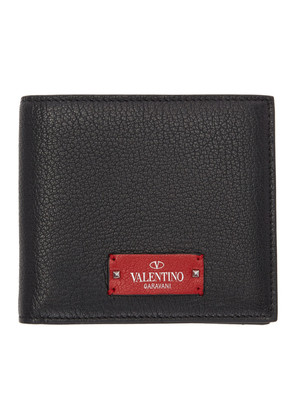 Valentino Black & Red Valentino Garavani Logo Patch Bifold Wallet
