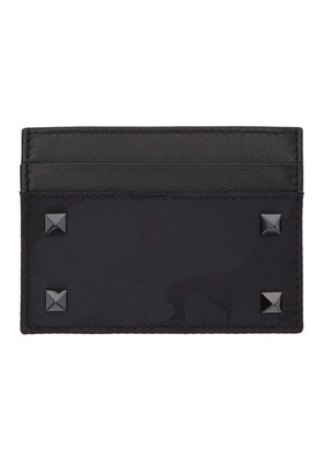 Valentino Black Valentino Garavani Nylon Camo Card Holder