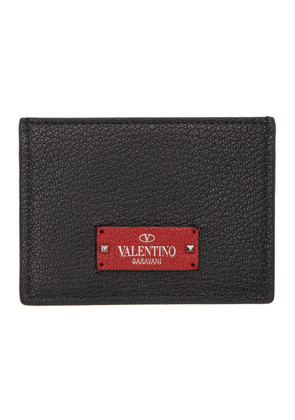 Valentino Black & Red Valentino Garavani Logo Patch Card Holder