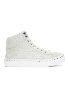 Jimmy Choo White Croc Crystal Argyle High-Top Sneakers