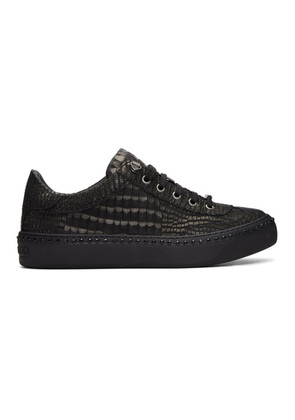 Jimmy Choo Black Croc Crystal Ace Sneakers