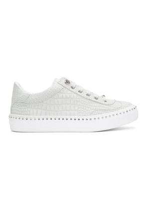 Jimmy Choo White Croc Crystal Ace Sneakers