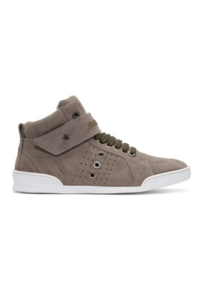 Jimmy Choo Taupe Suede Lewis High-Top Sneakers