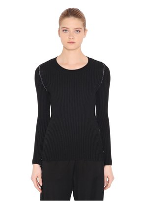 BACK CUTOUT WOOL BLEND RIB KNIT SWEATER