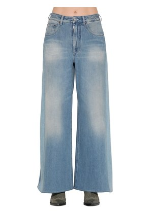 WIDE LEG FADED COTTON DENIM JEANS