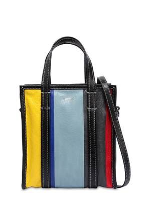 XS BAZAR STRIPED LEATHER TOTE BAG