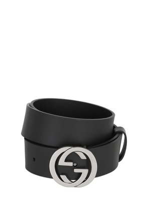 37MM INTERLOCKING G BUCKLE LEATHER BELT