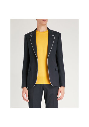 Contrast-piped slim-fit wool jacket