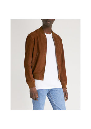 Stand collar suede bomber jacket