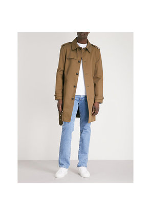 Officer-button cotton-twill trench coat