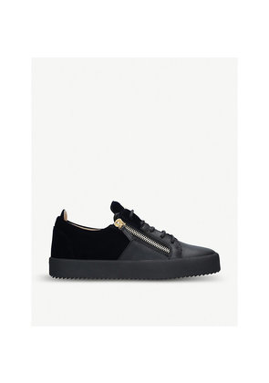 Leather and velvet trainers
