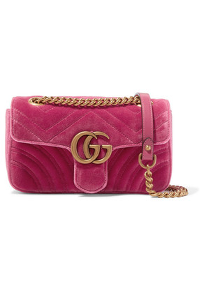 Gucci - Gg Marmont Mini Quilted Velvet Shoulder Bag - Pink