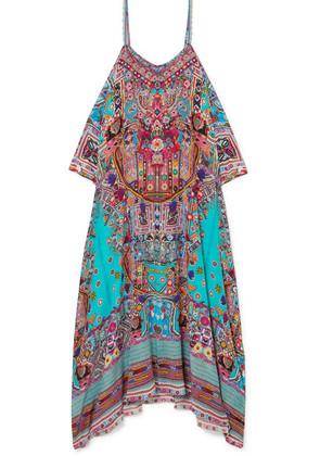 Camilla - The Long Way Home Embellished Printed Silk Crepe De Chine Kaftan - Turquoise