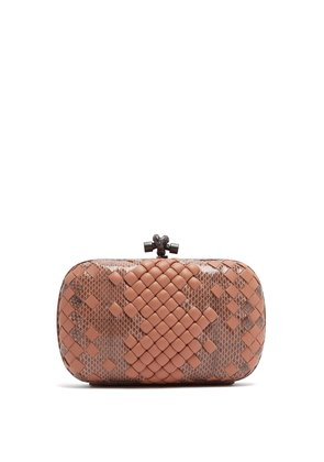 Knot satin and watersnake clutch