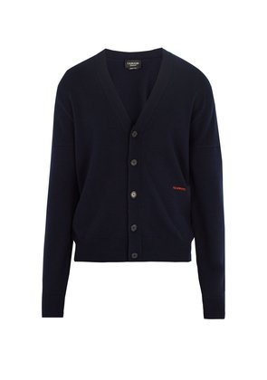 Logo-embroidered cashmere cardigan