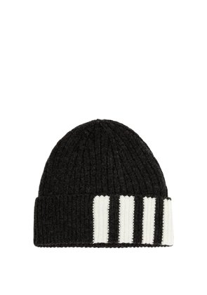 Striped ribbed-knit cashmere beanie